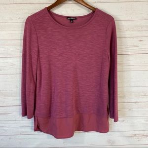J.Crew Mercantile Long Sleeve Mixed Media Top